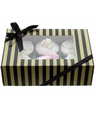 Boîte Chic pour 6 Cupcakes Or et Noir
