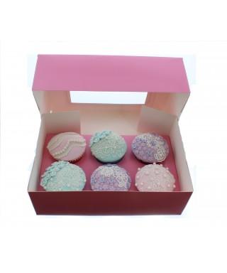Boîte pour Six Cupcake rose Satin luxe avec fenêtre