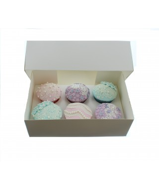 Boîte pour 6 Cupcake Blanc Satin luxe