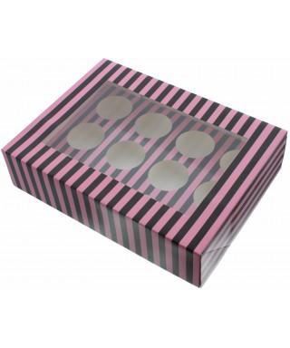Boîte Chic pour 12 Cupcakes Rose et Noir