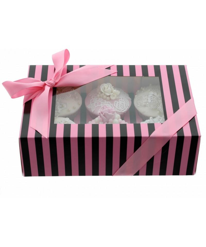 bo te chic pour 6 cupcakes rose et noir. Black Bedroom Furniture Sets. Home Design Ideas