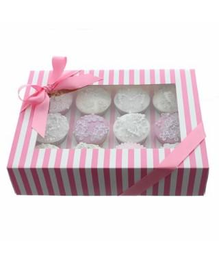 Boîte Chic pour Douze Cupcakes Rose et Blanc