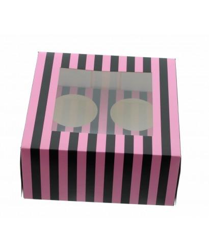 Boîte Chic pour Quatre Cupcakes Rose et Noir