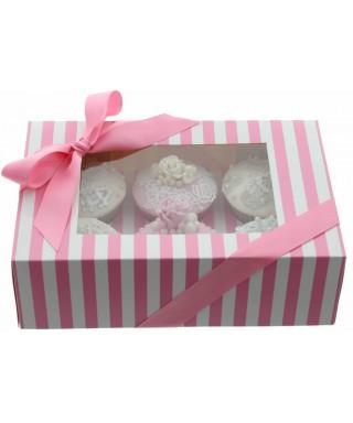 Boîte Chic pour Six Cupcakes Rose et Blanc