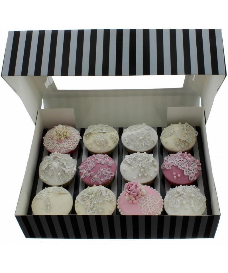 bo te chic pour 12 cupcakes argent et noir. Black Bedroom Furniture Sets. Home Design Ideas