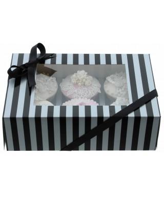 Boîte Chic pour 6 Cupcakes Argent et Noir