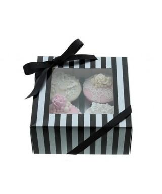 Boîte Chic pour Quatre Cupcakes Argent et Noir