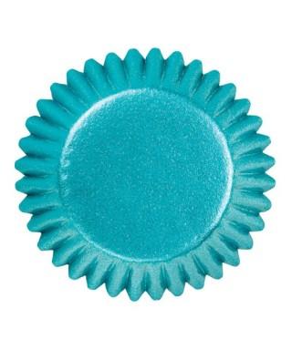 Mini caissettes à cupcakes Bleu Alu pk/75 Wilton