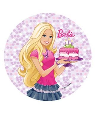 Disque Pâte à sucre Barbie et son gâteau d'anniversaire