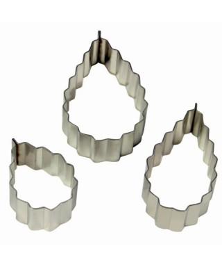 Emporte-pièce métal Rose feuille dentelée set/3 PME