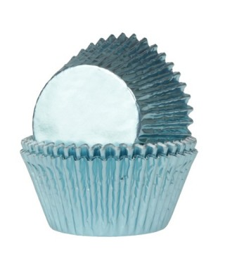 Caissette cupcake bleu bébé métallisé pk/24 HoM