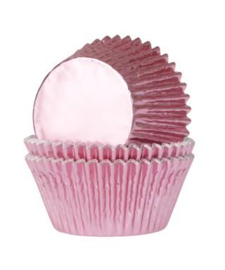 Caissette cupcake rose bébé métallisé pk/24 HoM