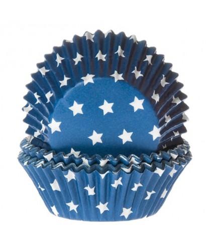 Caissette cupcake bleu étoile pk/50 House of Marie