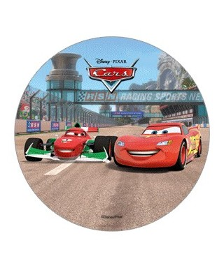 Disque azyme Cars Francesco Bernoulli et Flash McQeen sur circuit