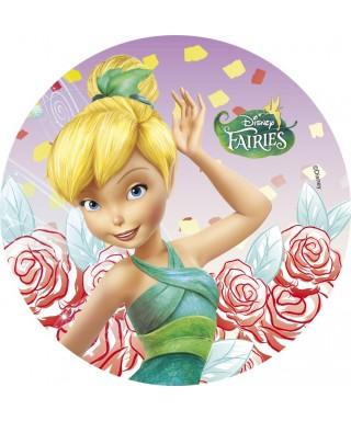Disque azyme la Fée Clochette et ses roses Disney