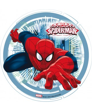 Disque azyme Spiderman fond bleu Marvel