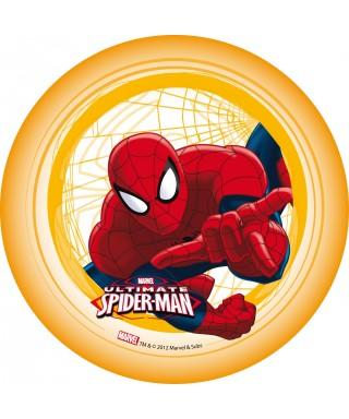 Disque azyme Spiderman et sa toile d'araignée cadre jaune Marvel