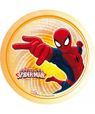 Disque azyme Spiderman fond orange Marvel