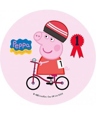 Disque de pâte à sucre Peppa pig en vélo