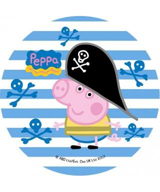 Disque de pâte à sucre Peppa pig pirate