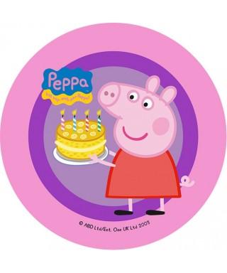 Disque de pâte à sucre Peppa pig avec son gâteau d'anniversaire