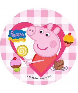Disque de pâte à sucre Peppa pig Cupcake