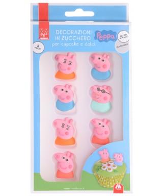 Décorations tête de Peppa Pig en sucre set/8