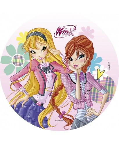 Disque pâtes à sucre Winx Flora et Stella