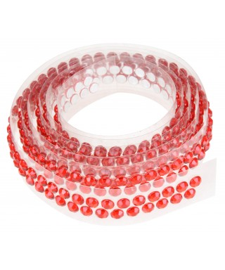 Ruban Avec Strass Adhesifs 90 Cm Rouge