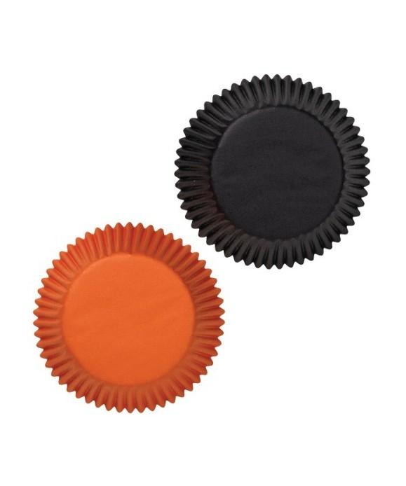 Caissettes à Cupcake Halloween Noir et Orange pk/75 Wilton