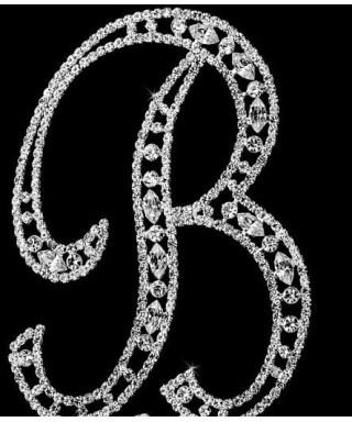 Lettre B en Diamant et Cristal pour gâteaux