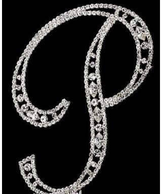 Lettre P en Diamant et Cristal pour gâteaux