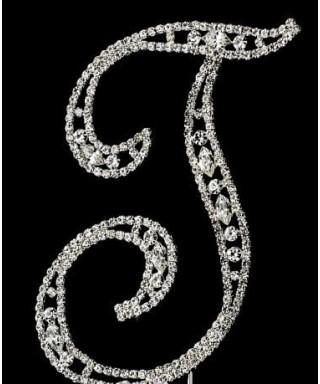Lettre T en Diamant et Cristal pour gâteaux