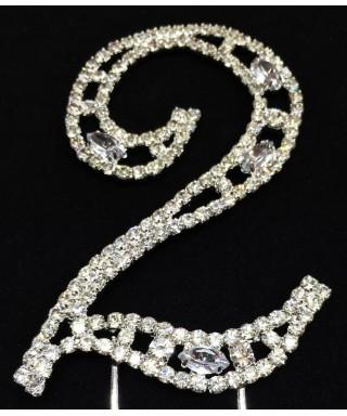 Chiffre 2 en Diamant et Cristal pour gâteaux