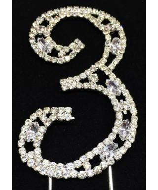Chiffre 3 en Diamant et Cristal pour gâteaux