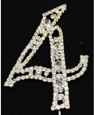 Chiffre 4 en Diamant et Cristal pour gâteaux