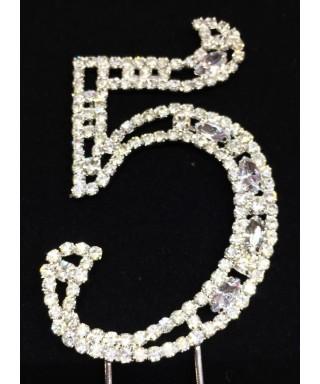 Chiffre 5 en Diamant et Cristal pour gâteaux
