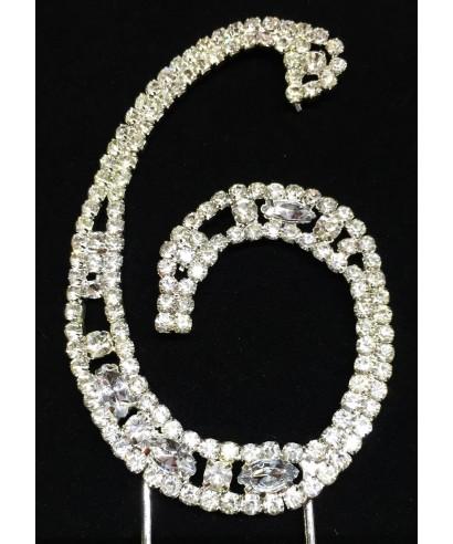 Chiffre 6 en Diamant et Cristal pour gâteaux