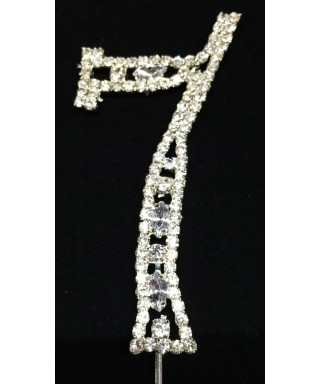 Chiffre 7 en Diamant et Cristal pour gâteaux 7cm