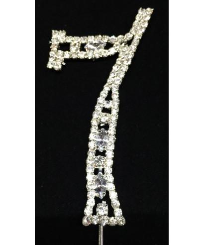 Chiffre 7 en Diamant et Cristal pour gâteaux