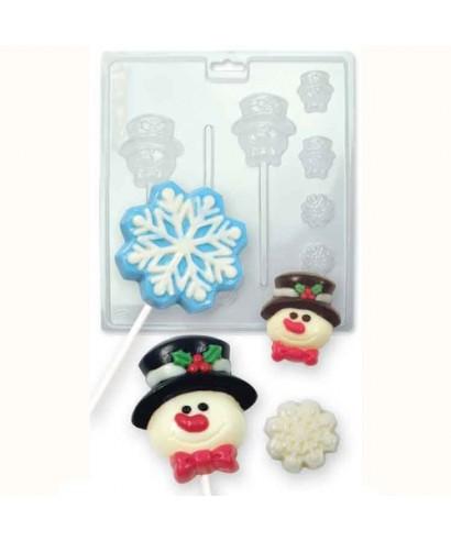 Moule Candy Mold bonhommes de neige et des flocons de neige PME