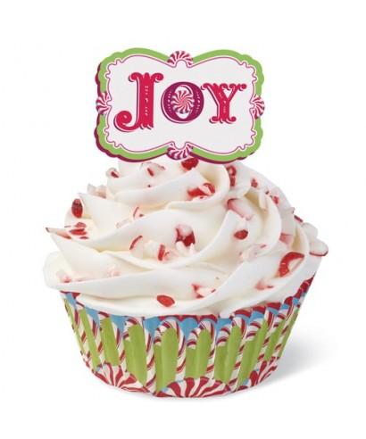 Décoration cupcakes joyeux Noël pk/24 Wilton