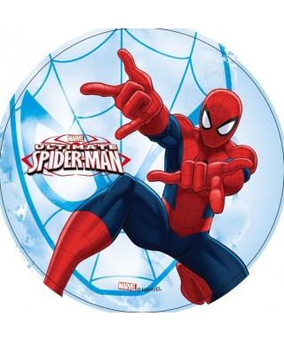 Disque azyme Spiderman toile d'araignée fond bleu Marvel