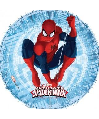 Disque azyme Spiderman fond bleu électrique Marvel