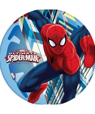 Disque azyme Spiderman entre les buildings Marvel