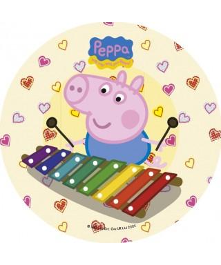 Disque en azyme Peppa pig fait du xylophone