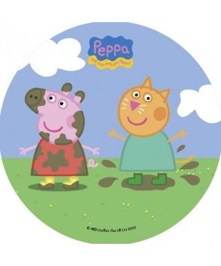 Disque pâte à Sucre Peppa pig avec son ami dans la boue