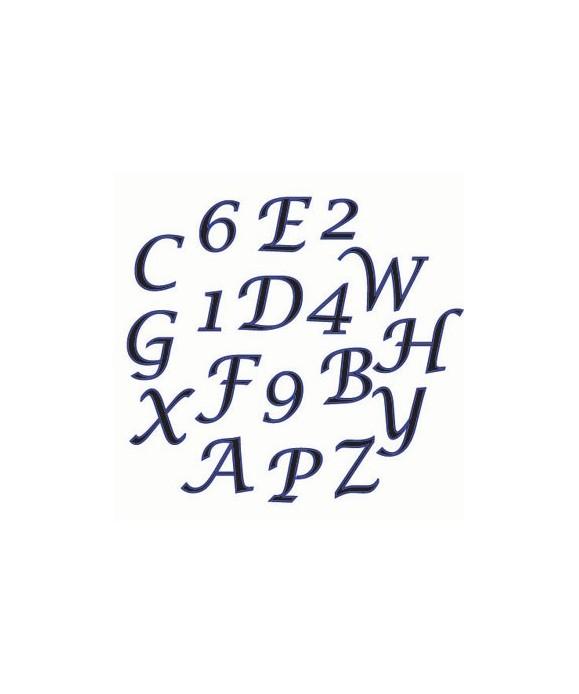 Lettre en Majucule Chiffre et lettre en format Script FMM Sugarcraft