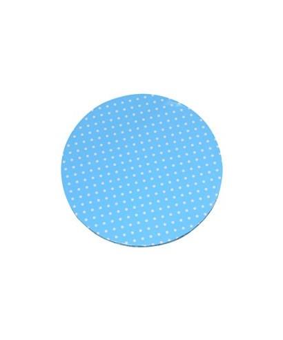Plateau de présentation rond épais bleu à pois blanc Ø 30 cm