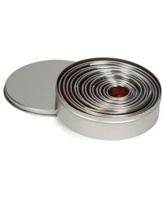 Boite de 14 emporte-pièces rond unis métal